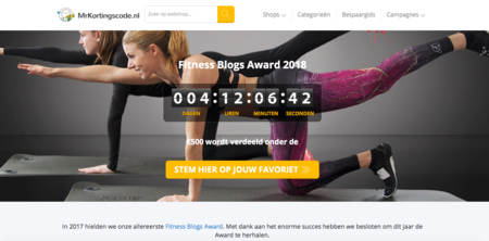 Nominatie Fitness Blog Awards 2018